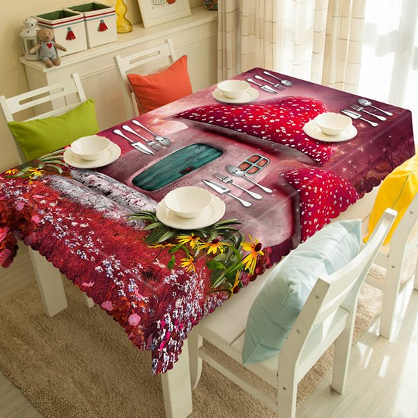 Cute Red Polyester Mushroom House Pattern 3D Tablecloth