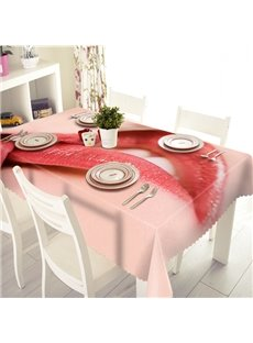 Pink Polyester Sexy Lip Pattern 3D Tablecloth