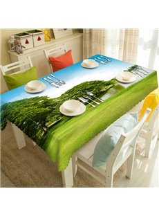 Green Rectangle Polyester Lawn and Lake Pattern Tablecloth