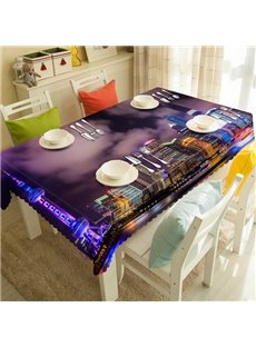 Purple City Night View Pattern 3D Tablecloth