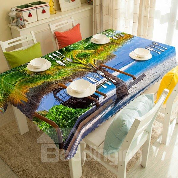 Cardiac Coconut Tree and Ocean Scenery 3D Tablecloth
