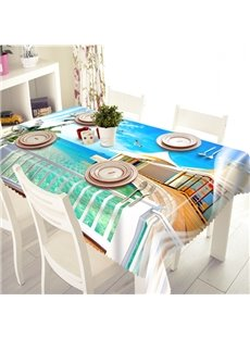 Sky Blue Seaside and Cabin Scenery Pattern 3D Tablecloth