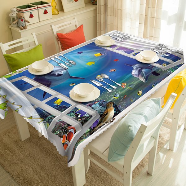 Blue Whale and Fish Ocean Window Pattern 3D Tablecloth