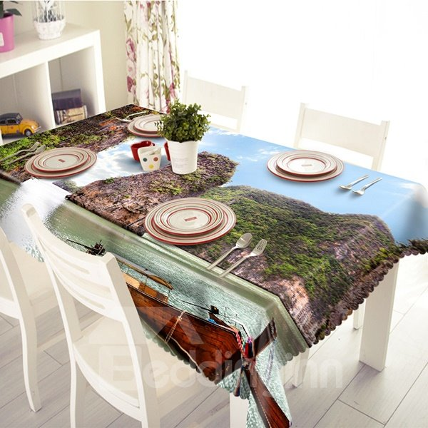 Natural Mountain and River Scenery Pattern 3D Tablecloth