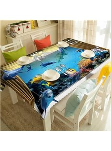 Amusing Ocean Dolphin and Gray Curtain Pattern 3D Tablecloth
