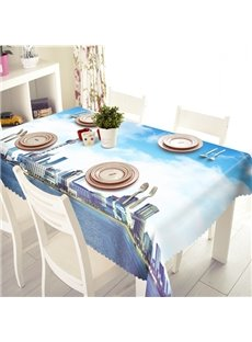 Blue Sky and White Cloud Polyester City Scenery Pattern 3D Tablecloth