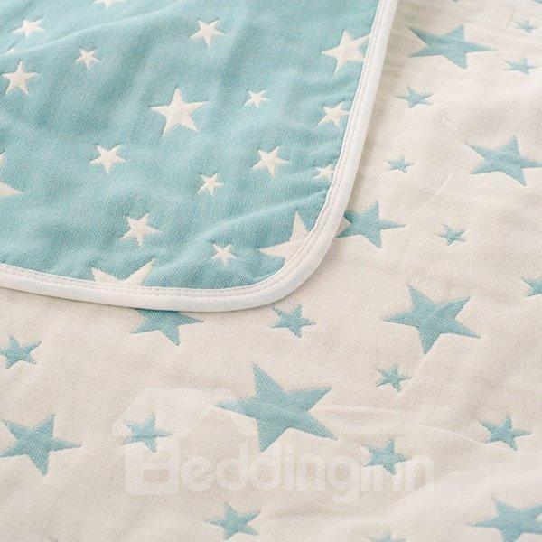Stylish Lush Star Print Blue Cotton Quilt