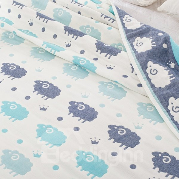 Adorable Cartoon Sheep Print Lightweight Cotton Quilt