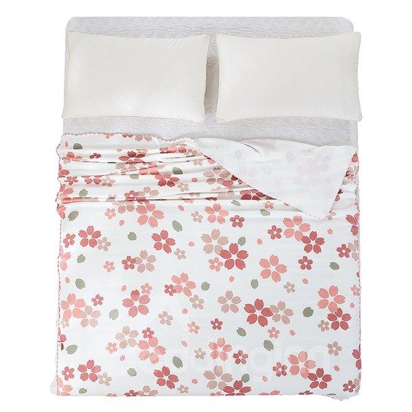 Delicate Skin Care Red Floret Print Quilt