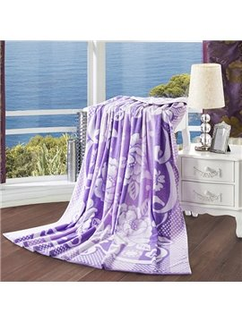 Fancy Adorable Peony Jacquard Purple Cotton Quilt