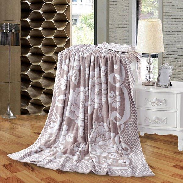Noble Purple Peony Jacquard 100% Cotton Quilt