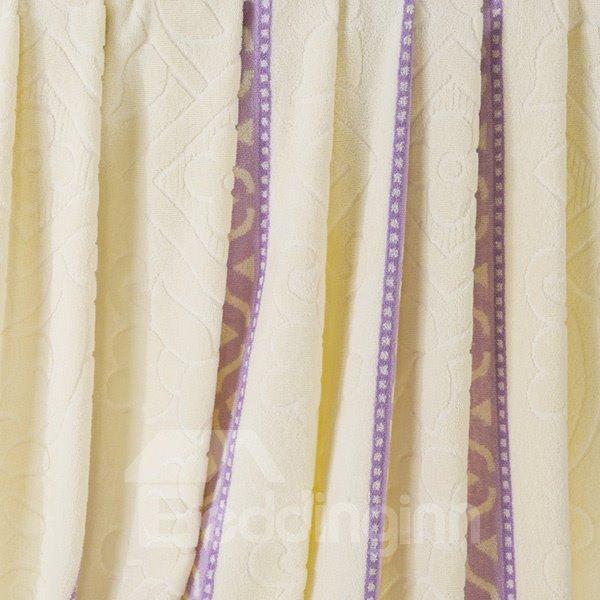 Graceful Purple and Beige Jacquard Cotton Quilt