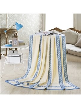 100% Cotton Pale blue and Beige Jacquard Quilt