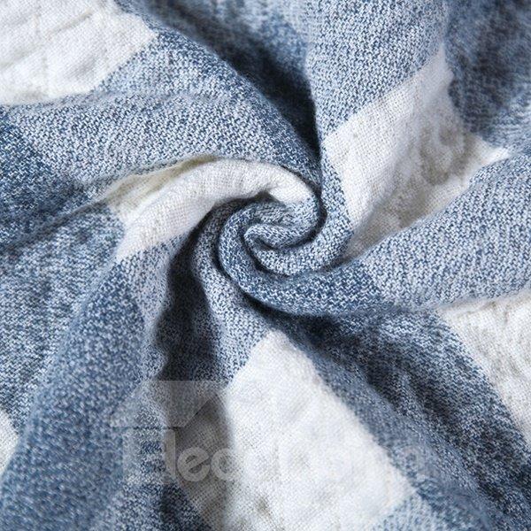 Rustic Blue Plaid Print 100% Cotton Quilt