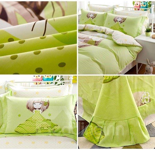 Pretty Girl with Light Green Dress Print 4-Piece Duvet Covet Sets