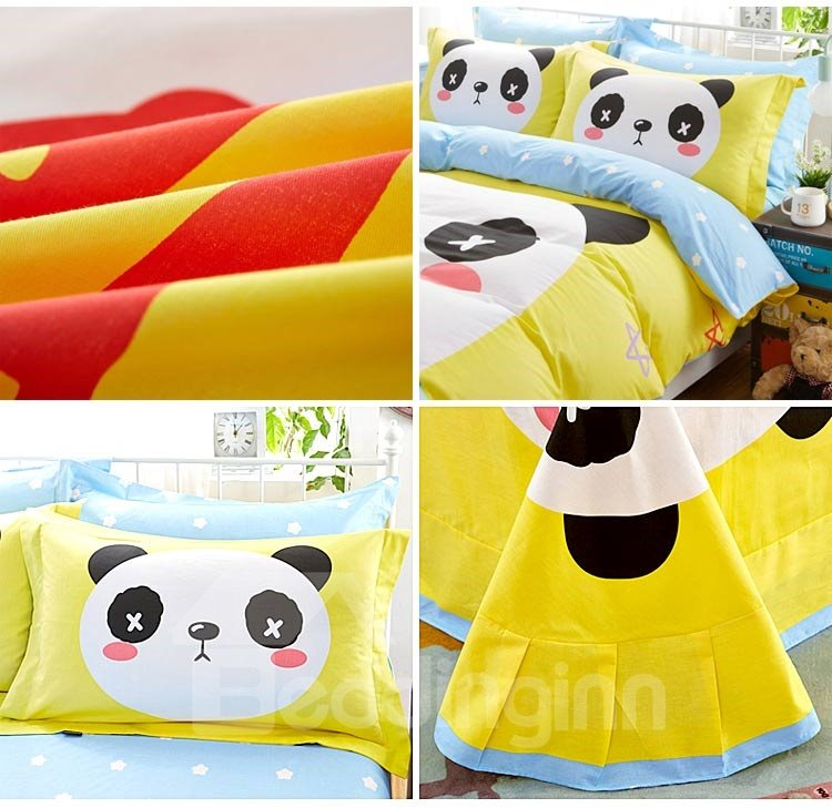 Cute Panda and Fruit Print 4-Piece Cotton Duvet Cover Sets