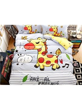 Happy Yellow Horse Print 4-Piece Cotton Duvet Cover Sets