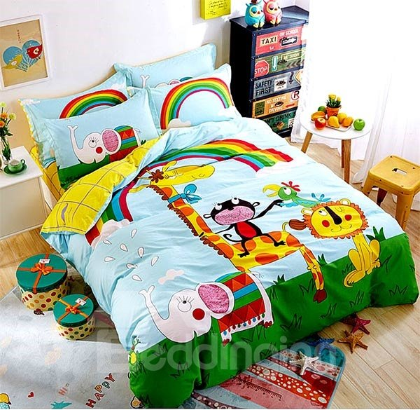 Little Animal and Rainbow Print 4-Piece Cotton Duvet Cover Sets
