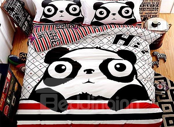Super Cute Fat Panda Print 4-Piece Cotton Duvet Cover Sets