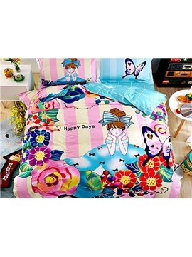 Flower and Butterfly Surrounding Girl Print 4-Piece Cotton Duvet Cover Sets