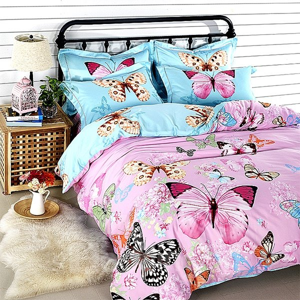 Flying Multi Coloured Butterflies Print 4-Piece Cotton Duvet Cover Sets
