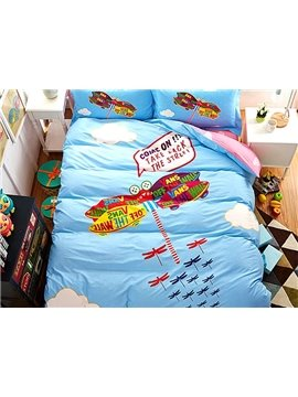 Fly to Sky Dragonfly Print 4-Piece Cotton Duvet Cover Sets
