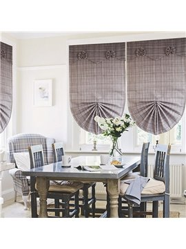 Brown Checkered Blending Roman Shades with Bow Valance