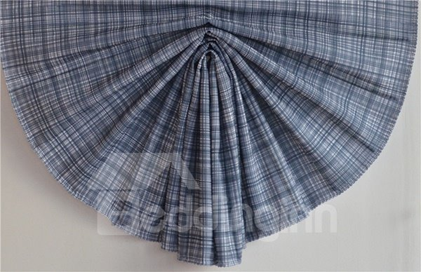 Blue Stripes Blending Roman Shades with Irregular Shaped Valance
