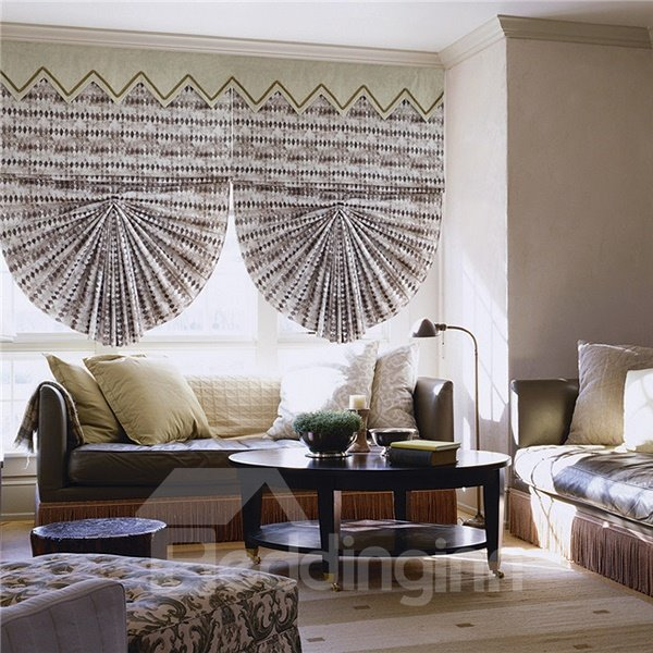 Designer Watercolor Geometric Print Roman Shades