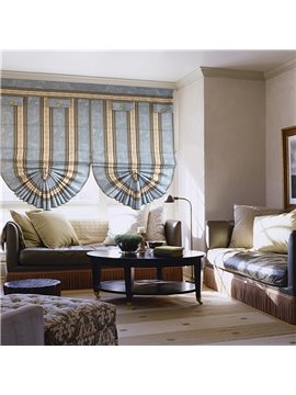 European Blue and Yellow Stripes Print Roman Shades