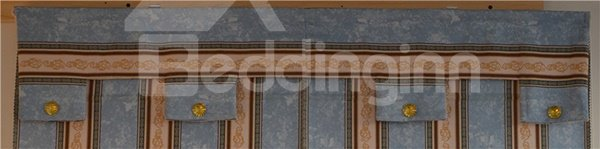 European Blue and Yellow Stripes Print Roman Shades