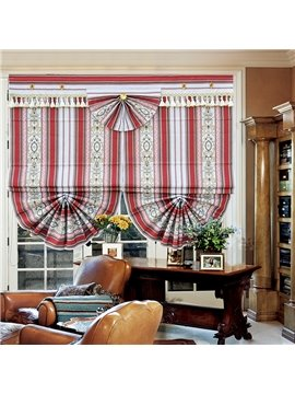 Concise Stripes and Graphic Print Blackout Roman Shades