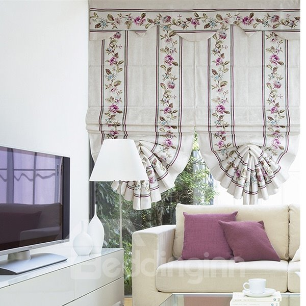 Modern Decor Concise Red Rose Print Roman Shades