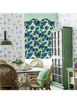 Modern Decor Abstract Art Blue Flowers Print Roman Shades