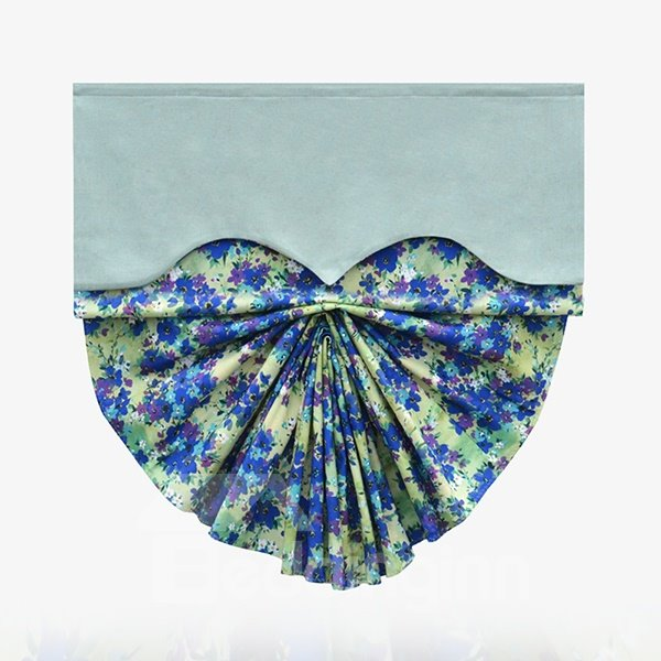 Modern Decor Abstract Art Blue Flowers Print Roman Shades