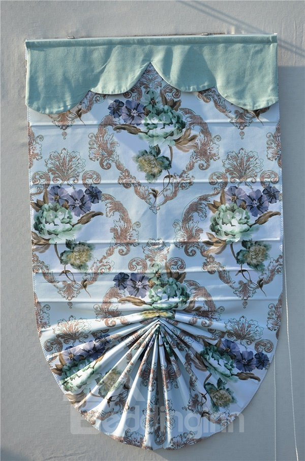 European Style Damask and Peony Print Roman Shades