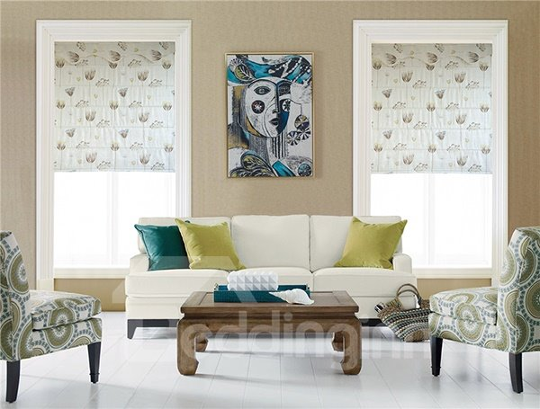 Cute Watercolor Dandelion Print Roman Shades