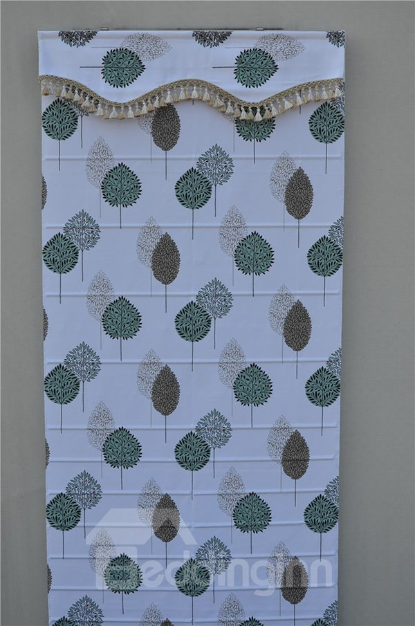 Hand Painted Tree in Leaf Shape Print Roman Shades