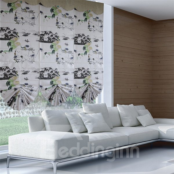 Chinese Style Ink Crane and Mountain Print Roman Shades