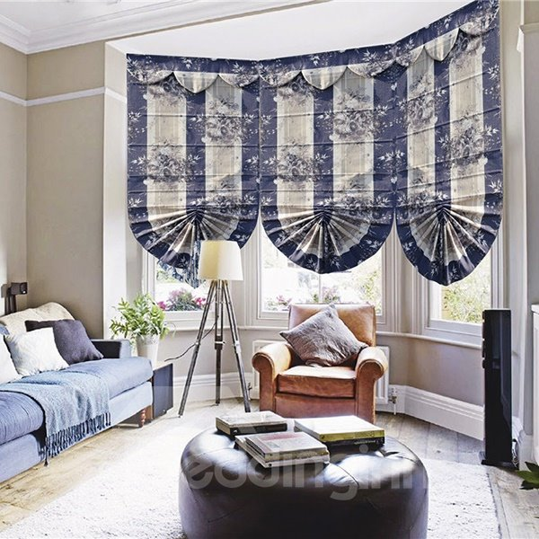 Baroque Luxury Rose Print Stripe Roman Shades