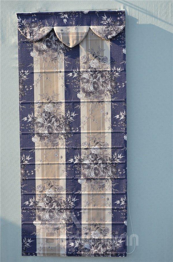 Baroque Luxury Rose Print Stripe Roman Shades