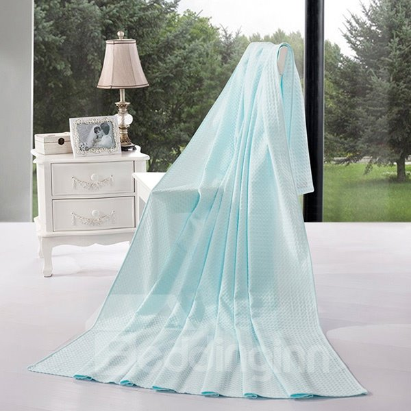 Breathable Solid Sky Blue Jacquard Cotton Air Conditioning Quilt 12205898