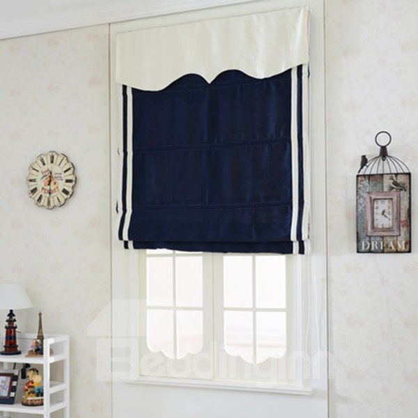 Concise Blue Flat-Shaped Roman Shades with White Valance