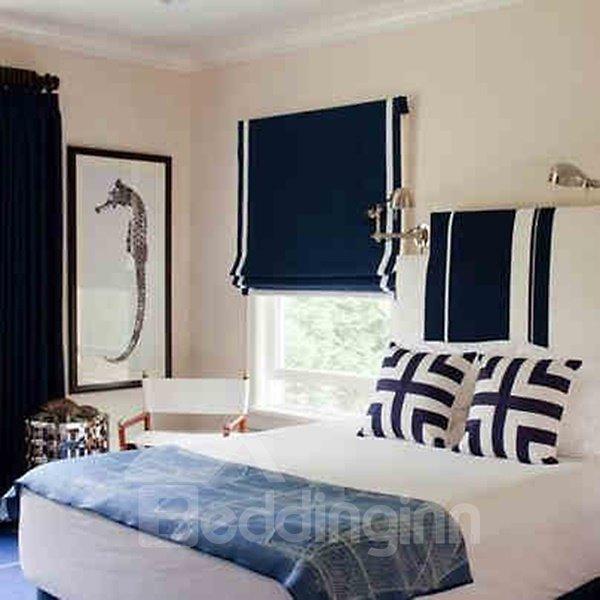 Mediterranean Dark Blue Polyester Cotton Flat-Shaped Roman Shades