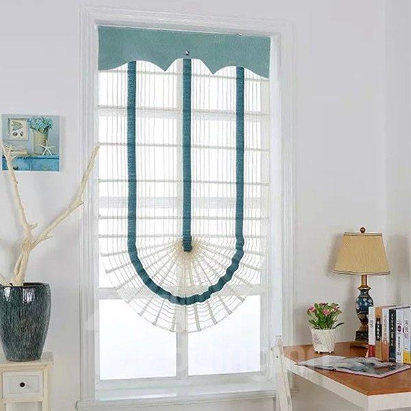 Mediterranean Blue Stripes Polyester Roman Shades