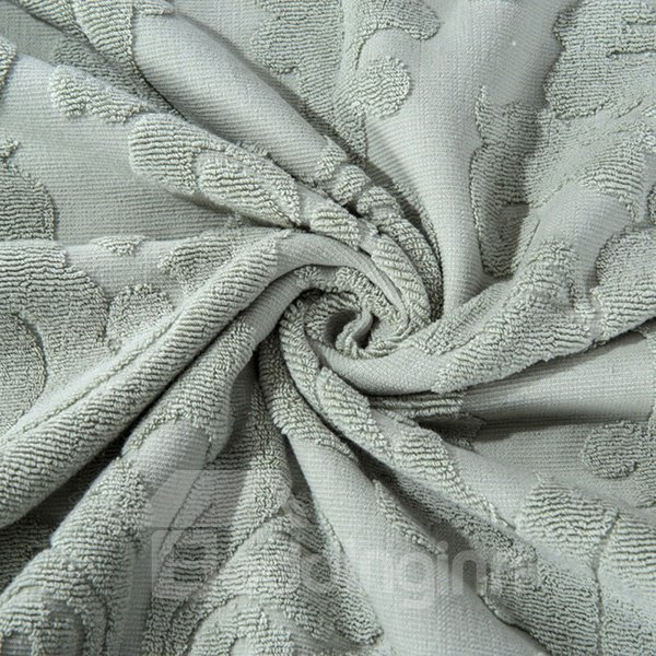 Retro Style Light Gray Cotton Jacquard Towel Quilt