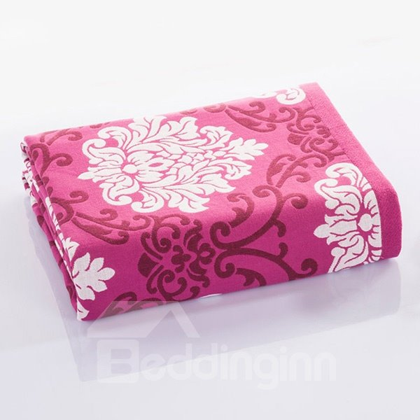 Beautiful Auspicious Flower Red Cotton Jacquard Towel Quilt