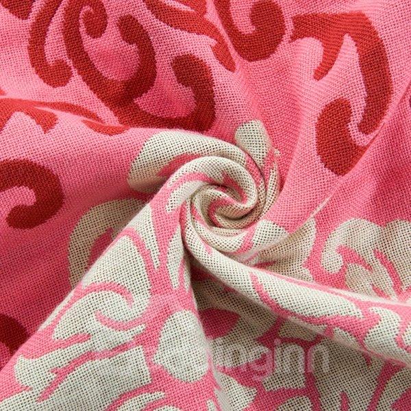 Unique Auspicious Flower Fuchsia Pink Cotton Jacquard Towel Quilt