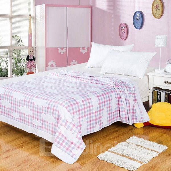 Lovely Yarn Stereo Cloud Pink Plaid Cotton Towel Quilt