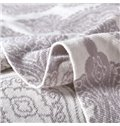 Exotic Damask Pattern Gray Cotton Knitted Blanket